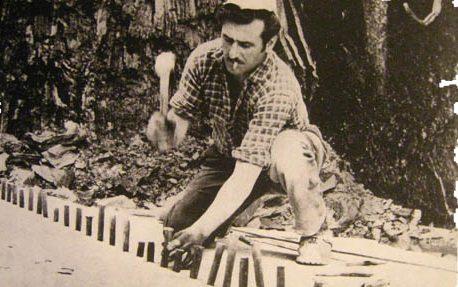 Immagine di cavatori al lavoro anni 50